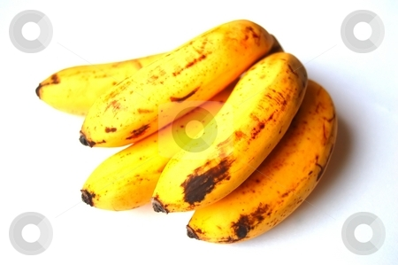 Bananas stock photo, Small bananas, white background, daylight, no flash used by Lars Kastilan