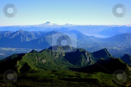 Lake District in Chile stock photo, The mountain range of the lake district in south Chile by Rafael Franceschini