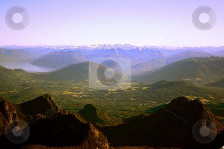Lake District in Chile stock photo, Te mountain range of the lake district in south Chile by Rafael Franceschini
