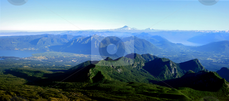 Lake District in Chile stock photo, The mountain range of the lake district in south Chile by Rafael Franceschini