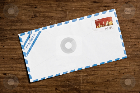 Air mail Envelope on wooden table. stock photo, Air mail Envelope on wooden table. by Pablo Caridad
