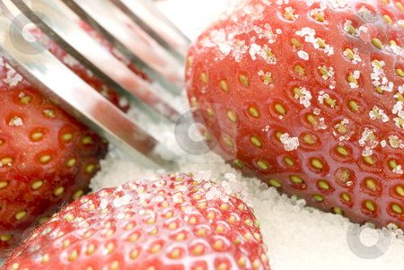 Strawberries and sugar stock photo, Ripe red strawberries covered in sugar granules by Stephen Gibson