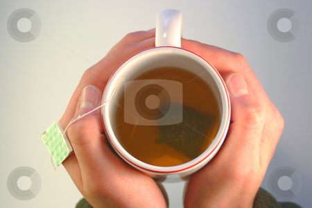 Tea Cup stock photo, A tea cup from above containing Green Tea. by Great Divide Photography