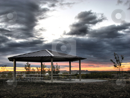 Picnic Shelter At Sunrise stock photo, Taken At The Orman Dam In South Dakota by Brian Meyer