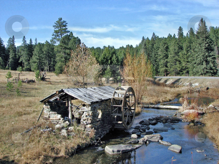 Old Water Wheel Shed stock photo, Taken In Vanocer Canyon Close To Sturgis South Dakota by Brian Meyer
