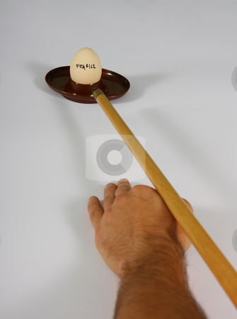 Snooker and Egg stock photo, An egg is targeted with a billiard cue. The meaning is symbolic. by Gyozo Toth