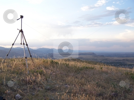 Tripod looking towards the Front Range stock photo, On the 4th of July, we scaled Green Mountain in Colorado to take some pictures of fireworks.  Here, at sunset, we were getting set up. by JKJ Anderson