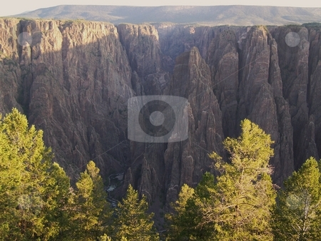 Black Canyon of the Gunnison at sunrise stock photo, Despite the coloration of those trees, this shot is from July.  Taken from the road around the south/west rim of the Black Canyon of the Gunnison. by JKJ Anderson