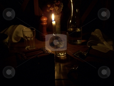 Candlelight dinner stock photo, Taken at a yurt dinner in Colorado, perhaps the best dinner I have ever had. by JKJ Anderson