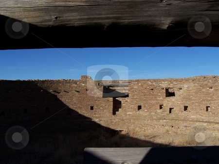 Kiva stock photo, From one of the kivas at Chaco Canyon; that timber is ancient. by JKJ Anderson