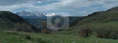 Sneffels range of mountains, Colorado stock photo, May view of some mountains in Southwestern Colorado. by JKJ Anderson