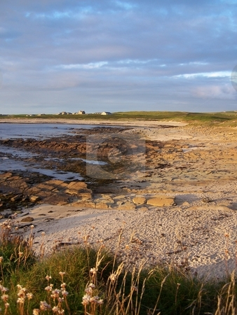The beach at the Bay of Birsay, Orkney stock photo, Looking up the beach at near high-tide at the Bay of Birsay on the Mainland of the Orkney Islands. by JKJ Anderson