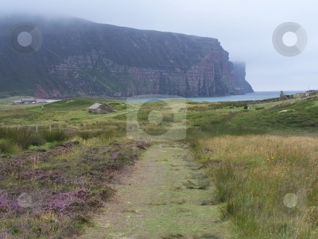 Rackwick Bay and cliffs on Hoy, Orkneys stock photo, Approaching Rackwick Bay after hiking across the Island of Hoy, Orkneys. by JKJ Anderson