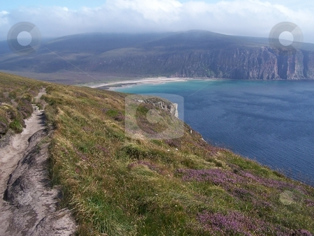 Looking down at Rackwick Bay, Orkney stock photo, Returning to Rackwick Bay from hiking to the Old Man of Hoy, Orkney Islands. by JKJ Anderson