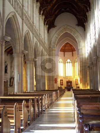 Nave of cathedral, Bendigo stock photo, Looking down the nave of the cathedral in Bendigo, in Australia's wine country. by JKJ Anderson