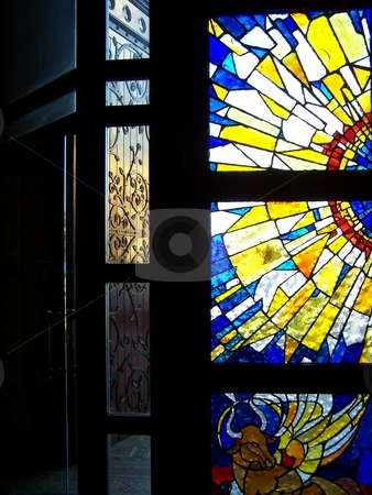 Stained glass window  stock photo, From a small church in South Yarra, Melbourne, Australia. by JKJ Anderson