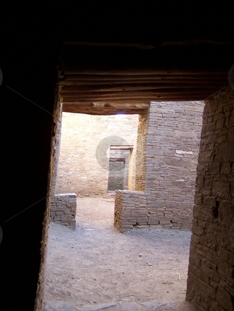 Doorways at Chaco Canyon stock photo, Looking through the strange t-shaped doors at Chaco Canyon. by JKJ Anderson