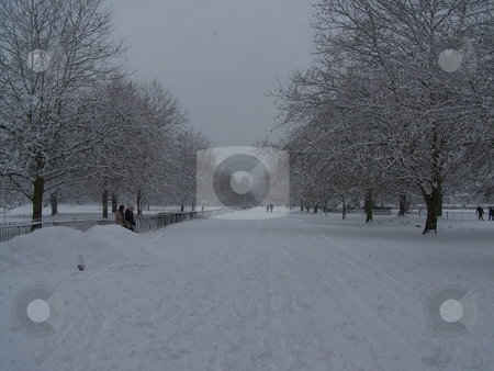 Snowy walk in Christ Church Meadow stock photo, A rare snowy day in Oxford, on the Broad Walk of Christ Church Meadow. by JKJ Anderson