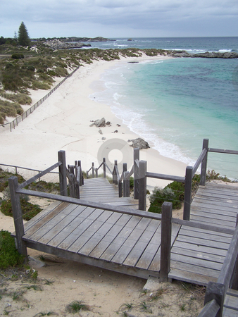 Walking down to the beach, Rottnest Island, Australia stock photo, Stairs from a lighthouse down to a gorgeous beach on Rottnest Island, just off the coast of Australia from Perth and Fremantle. by JKJ Anderson