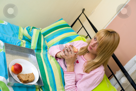 Breakfast in bed seen from a high view stock photo, Having breakfast in bed by Frenk and Danielle Kaufmann