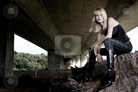 Fashion shoot under a bridge stock photo, Fashion shoot posing under a bridge by Frenk and Danielle Kaufmann
