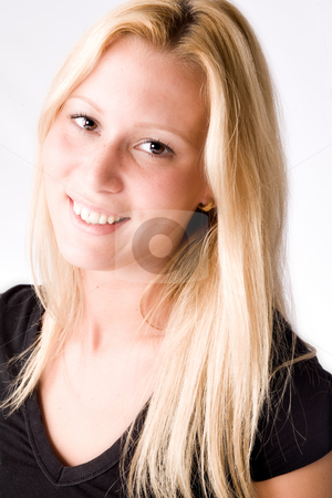 Portrait of a Young blond girl made in the studio stock photo, Studio portrait of a young blond girl by Frenk and Danielle Kaufmann
