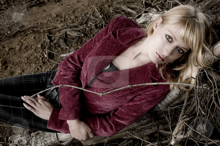 Laying down looking at you stock photo, Fashion shoot in dead wood by Frenk and Danielle Kaufmann