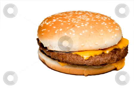 Cheeseburger stock photo, An all American classic cheeseburger on a sesame seed bun. by Robert Byron