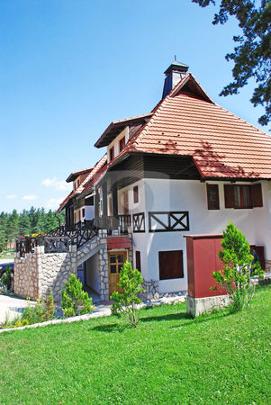 Cottage tiled roof stock photo, Weekend house with garden in Serbia, Zlatibor by Julija Sapic