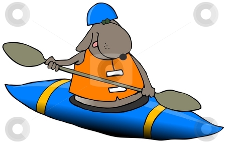 Dog In A Blue Kayak stock photo, This illustration depicts a dog paddling a blue kayak. by Dennis Cox