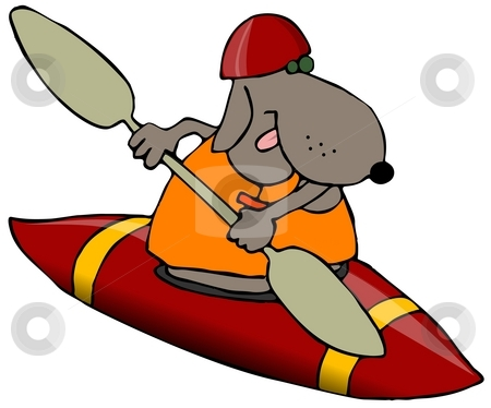 Dog In A Red Kayak stock photo, This illustration depicts a dog paddling a red kayak. by Dennis Cox