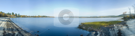 Beach stock photo, Panoramic landscape view of a beach and mountains by Vlad Podkhlebnik