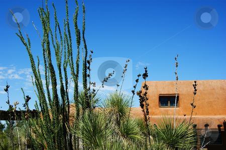 Adobe Building stock photo, An adobe building against a blue sky by Sam Sapp