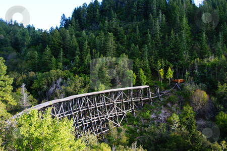 Railroad bridge stock photo, An old railroad bridge in a canyon by Sam Sapp