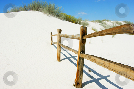 White sands stock photo, A fence in the white sands national monument by Sam Sapp