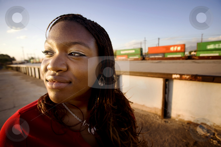African American Woman stock photo, Closeup of a pretty African American woman with braids by Scott Griessel