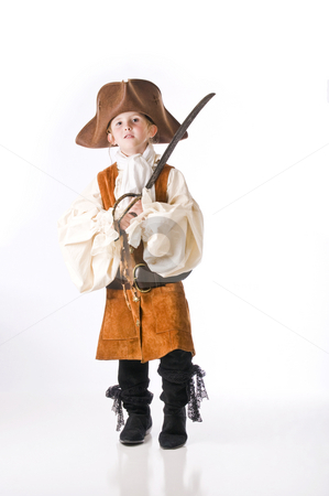 Little girl pirate for Halloween stock photo, All ready for the most fun holiday for kids by RCarner Photography