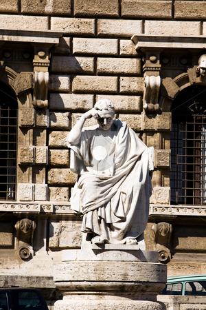 Statue in Rome stock photo, Statue by Palazzo di Giustizia in Rome, Italy by Vitaly Sokolovskiy