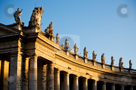 Statue in Rome stock photo, Famous colonnade of St. Peter's Basilica in Vatican, Rome, Italy by Vitaly Sokolovskiy