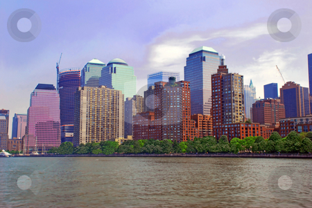 General urban view stock photo, Cityscape of New York City from river by Julija Sapic