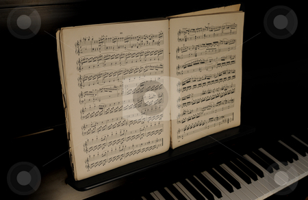 Old Sheet Music stock photo, Old Sheet music on a piano by Will Burwell