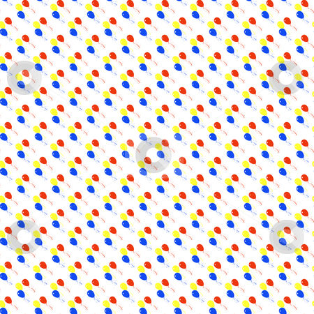 Balloons pattern stock photo, Colorful balloons textured on white background by Wino Evertz