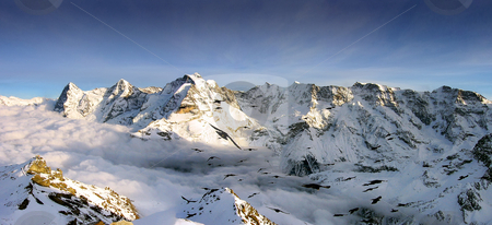 Panoramic view of the Swiss Alps stock photo, Panoramic view of the Swiss Alps from Jungenfrau near Interlaken by Rafael Franceschini