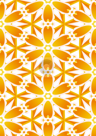 Flower background stock photo, Repeating yellow flower shapes on white background by Wino Evertz