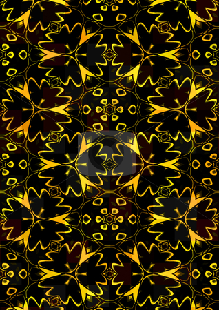 Flower background stock photo, Repeating yellow flower shapes on black background by Wino Evertz