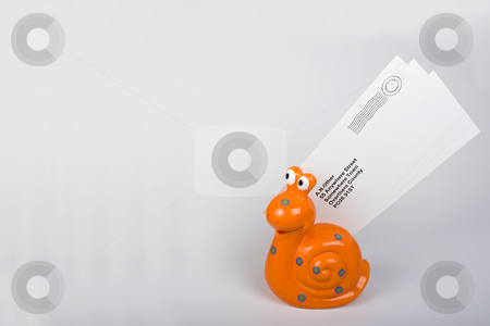 Snail Mail concept stock photo, An orange snail carrying letters to destination. by Steve Smith