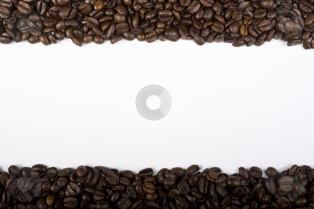 Coffee Borders stock photo, Two borders of espresso coffee beans on the top and bottom of a white frame by Steve Smith