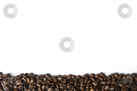 Coffee Border stock photo, A border of espresso coffee beans on the lower part of a white frame by Steve Smith