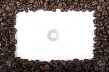 Coffee Border stock photo, A four sided border of espresso coffee beans by Steve Smith
