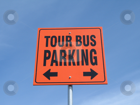 Orange tour bus parking sign on  blue sky stock photo, Orange tour bus parking sign on  blue sky by Mbudley Mbudley